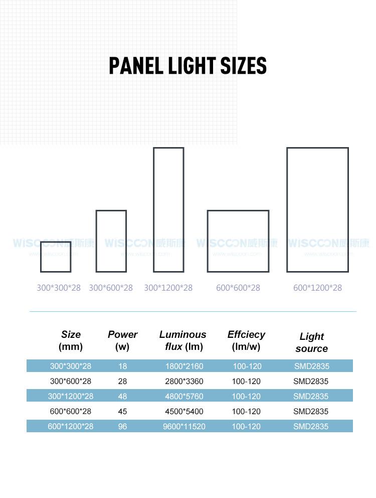1200 x 600mm panel light